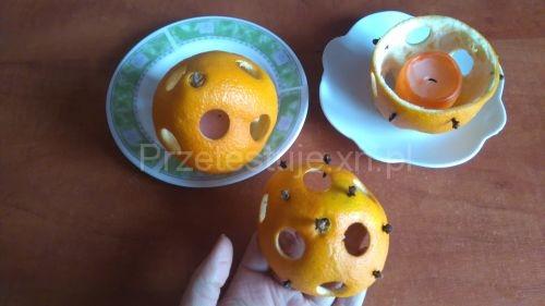 świeczniki z pomarańczy z goździkami
