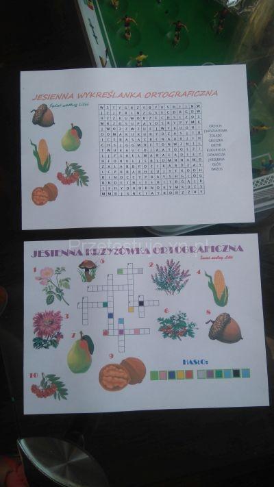 karty pracy jesienna krzyżówka ortograficzna