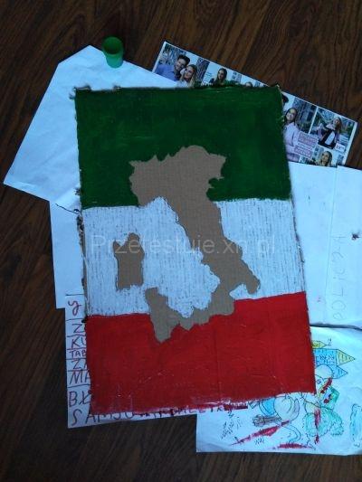 mapa z flagą Włoch